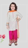 3 piece Shirt, trouser and dupatta White grip screen printed shirt with embroidered patti on sleeves Pink grip embroidered trouser with orange net dupatta Embellished with buttons, kiran lace and tilla balls