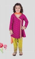 3 piece Shirt, shalwar and dupatta Purple linen embroidered A-line angrakha shirt Lime green embroidered shalwar with orange chiffon dupatta Embellished with tassels and tilla balls