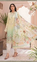 Printed broochia front, back and sleeves Embroidered neckline I Embroidered neckline II Schiffli front centre panel Embroidered lawn sleeves Embroidered sleeves patches Embroidered sleeves lace Embroidered ghera lace I Embroidered ghera lace II Printed cambric trouser Embroidered patches for trouser