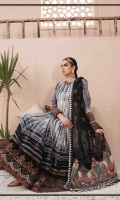 Printed jacquard front, back and sleeves Embroidered neckline Embroidered ghera lace I Embroidered ghera lace II Printed sleeve patches Embroidered sleeves lace Embroidered net dupatta Printed dupatta pallu Printed dupatta patti Dyed cambric trouser