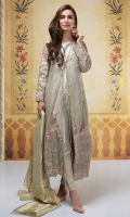 3 piece  Shirt, trouser and dupatta Net full length gown fully embroidered and sequenced Handwork on front Tissue A-line undershirt Jacquard pants Crushed dupatta