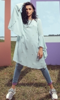 1 Piece Ice blue / salmon pink grip silk tunic with pearl spray on front and flared sleeves