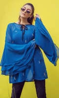 1 Piece Blue georgette tunic with front embellishment, tri layered sleeves and Under shirt