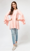 1 Piece salmon pink grip silk tunic with pearl spray on front and flared sleeves
