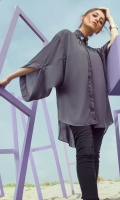 1 Piece Charcoal Grey grip silk front open shirt with embellished collar