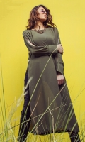 Military green georgette long shirt with side seam button opening and slit