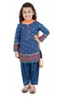 3 piece Shirt, shalwar and dupatta Blue khadder full embroidered shirt with blue khadder shalwar Orange chiffon dupatta Embellished with kiran lace and buttons