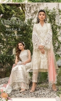 hand-woven organza jacquard front hand-woven organza jacquard back hand-woven organza jacquard sleeves organza embroidered center panel front organza embroidered cutwork sleeve patti 1 organza embroidered sleeve patti 2 organza embroidered ghera lace (front & back) hand-woven jacquard trouser organza embroidered trouser lace embellished neck patti embellished neck patch chiffon embroidered dupatta schiffli embroidered dupatta lace cotton satin undershirt