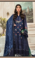 Pure organza embroidered front panel Pure organza embroidered side panel Pure organza embroidered back Pure organza embroidered sleeves Embroidered organza ghera patch front Embroidered organza sleeve lace Embroidered organza neckline patti Embellished neckline motif Dyed Raw silk trouser Embroidered organza trouser lace Cotton satin undershirt Hand Woven chiffon jacquard dupatta