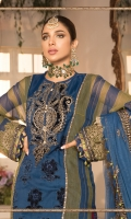 Embroidered velvet neck patch Embroidered organza center panel with Velvet applique work Yarn dyed khaddi net side panels Embroidered velvet ghera patti front Embroidered organza panel patti Yarn dyed khaddi net sleeves Embroidered velvet sleeve lace Embroidered velvet sleeve patch Dyed organza back Embroidered velvet back lace Embroidered net duppatta Embroidered velvet dupatta patti Dyed cotton satin under shirt Dyed jacquard trouser