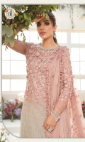 Embroidered & hand embellished organza neck line Embroidered net front yoke with pearls & 3d flowers hand work Embroidered shaded chiffon front jaal Embroidered net sleeves with pearls & 3d flowers hand work Embroidered & hand embellished organza sleeve patch Embroidered organza ghera patch Shaded chiffon back Dyed net for back bodice Embroidered chiffon dupatta Embroidered orgnaza dupatta pallu lace Embroidered organza dupatta pallu Dyed raw silk trouser Dyed cotton satin under shirt