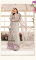 Embroidered organza neck patch with pearl & 3d flower hand work Embroidered organza center panel Embroidered organza side pannel allover & sleeves Embroidered organza sleeve patti with pearl & 3d flower hand work Embroidered organza ghera patch Embroidered organza ghera patti Dyed organza back Embroidered zari net dupatta Embroidered organza dupatta patti Dyed tissue under shirt Dyed jacquard trouser (dhaka pajama) Embroidered organza trouser patti
