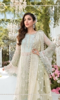 Embroidered organza center panel with pearl hand work Embroidered net side panels & sleeves Embroidered organza ghera Embroidered organza sleeve patti-2 Embroidered organza sleeve patti-1 Embroidered organza sleeves-2 Dyed net back Dyed organza jacquard dupatta Embroidered cotton satin dupatta patti Dyed cotton satin under shirt Dyed jacquard dhaka pajama