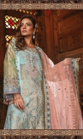 Hand woven Organza jacquard front Hand woven Organza jacquard back Organza jacquard sleeves Hand Embellished neckline Organza cut work ghera patti Embroidered velvet ghera patti Organza cut work sleeve patti Embroidered velvet sleeve patti Gota Embroidered net dupatta Embroidered organza dupatta pallu patti Foil weave Organza jacquard trouser Cotton satin Trouser lining