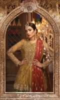 Embroidered net center panel & back Embroidered net side panels  Embroidered velvet neckline Embroidered organza ghera patti for front Embroidered organza gherapatti for back Embroidered velvet ghera patti Embroidered organza sleeve patch Embroidered net sleeves shaded panni printed Net dupatta Embroidered velvet dupatta pallu lace Embroidered velvet dupatta patti Cotton satin trouser 1 Embroidered cotton satin trouser 2 Embroidered trouser lace Embroidered cut work trouser lace Tissue undershirt Swarovski Buttons