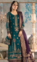 Embroidered chiffon front panel Embroidered chiffon side panels Dyed chiffon back Embroidered chiffon sleeves Embroidered organza ghera patch Embroidered velvet ghera patti for front and back Embroidered velvet sleeves patti Dyed cotton satin undershirt Organza jacquard dupatta with diamantes spray Dyed jacquard trouser