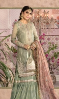 Embroidered organza center panel for front Embroidered organza side panel for front Embroidered organza sleeves Dyed organza back Embroidered organza neckline Embroidered organza ghera patch Embroidered organza sleeves patch Embroidered tissue sleeves lace Embroidered tissue ghera lace Dyed tissue undershirt Dyed jacquard gharara Embroidered tissue gharara lace Embroidered zari net dupatta Embroidered tissue dupatta lace