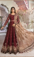Embroidered raw silk fabric for front and back Embroidered raw silk sleeves Embroidered organza neckline with hand embellishments Embroidered raw silk ghera patch for front and back Embroidered velvet ghera patti for front and back Embroidered raw silk sleeve patch Embroidered velvet sleeves lace Embroidered organza belt Embroidered zari net dupatta Embroidered organza dupatta pallu lace Embroidered velvet dupatta patti Dyed raw silk trouser