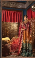 Embroidered pure charmeuse silk printed front Pure charmeuse silk printed back Embroidered pure charmeuse silk embroidered sleeves Embroidered velvet neckline patch Embroidered velvet neckline patti Gota embroidered velvet ghera lace for front Gota embroidered ghera lace for front & back Pearls encrusted front embroidered ghera lace Gota embroidered organza sleeve lace Embroidered velvet sleeve lace Gota embroidered organza dupatta Digital printed cotton satin dupatta lace Embroidered velvet dupatta lace woven jacquard trouser Embroidered velvet trouser lace Hand embellished hanging tassels Finishing accessories