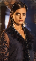 Velvet appliquéd embroidered pure organza front Velvet appliquéd embroidered pure organza sleeves Pure organza back Embroidered velvet ghera patch for front Embroidered velvet ghera Patti for Back Embroidered velvet sleeve patch Hand woven pure chiffon jacquard dupatta Embroidered velvet dupatta lace Embroidered velvet dupatta pallu lace Grip inner shirt Cotton satin trouser Hand embellished neckline lace with feather details Finishing accessories