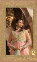 Hand embellished and embroidered velvet koti Embroidered velvet koti back Embroidered organza neckline Embroidered net front, back and sleeves Embroidered velvet ghera patch lace for front Embroidered velvet sleeve patch Embroidered velvet ghera lace for front and back Embroidered velvet sleeve lace Diamante woven organza jacquard dupatta Digital printed cotton satin inner shirt Woven jacquard trouser Embroidered velvet dupatta lace Finishing accessories