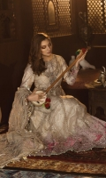 Net front and back Foil hand woven raw silk jacquard sleeves Hand embellished neckline Hand embellished yoke Embroidered organza panel patti Embroidered Velvet ghera lace I Gota embroidered Velvet ghera lace II Embroidered Velvet ghera lace for front and back Embroidered Velvet sleeve patch Embroidered Velvet sleeve lace Gota embroidered net dupatta Embroidered Velvet dupatta lace Foil Hand woven raw silk jacquard inner shirt Woven jacquard trouser Embroidered Velvet lace dupatta pallu Finishing accessories