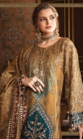 Shaded embroidered cotton satin centre panel Embroidered zari net front Plain zari net back Embroidered zari net sleeves Embroidered velvet sleeve patti Embroidered velvet ghera patti for front Embroidered velvet ghera patti for back raw silk undershirt Jacquard trouser Organza jacquard dupatta Embroidered velvet four sided dupatta patti