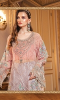 Embroidered organza front Embroidered and hand embellished organza neckline patch Embroidered organza sleeves Embroidered velvet sleeve patti Embroidered velvet ghera patti Embroidered velvet ghera patches Dyed organza back Cotton satin undershirt Jaquard trouser Embroidered organza trouser patti Lorex dupatta with diamantes spray