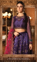 Plain zari net blouse for front & back Embroidered and hand embellished organza neck patch Embroidered organza blouse patti Embroidered chiffon sleeves Gota work embroidered velvet sleeves patti I Embroidered velvet sleeves patti II Embroidered zari net skirt panel front Gota work embroidered velvet skirt front patti Embroidered zari net skirt panel back Embroidered velvet skirt back patti Cotton satin undershirt for bouse and lehnga Gota work embroidered net dupatta Embroidered velvet dupatta patti I Embroidered organza dupatta patti II raw slik plain trouser