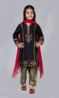 Shirt fabric: Lawn Trouser fabric: Jacquard Dupatta fabric: Chiffon Black lawn embroidered panel shirt with embroidered sleeves comes with green jacquard shalwar and red Chiffon dupatta.