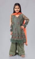 Shirt fabric: Zari net Trouser fabric: Jacuard Dupatta fabric: Net Zari net embroidered angrakha embroidered sleeves with Jacuard dhaka pajama and net dupatta