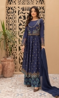 Shirt fabric: Lawn Koti fabric: Lawn Trouser fabric: Lawn Dupatta fabric: Chiffon Long embroidered frock with embroidery on the sleeves and ghera along with embroidered koti, Paired with Chiffon dupatta and printed dhaka pajama