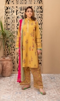 Shirt fabric: Lawn Trouser fabric: Cotton lawn Dupatta fabric: Lawn Straight panelled shirt with gold and coloured block print all over shirt and sleeves detailed with fabric triangles in pannels and gold trim on neckline paired with block printed shalwar and crushed two coloured dupatta