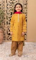 Shirt fabric: Lawn Shalwar fabric: Lawn Dupatta fabric: Cotton Lawn block printed shirt Embellished with gota lace Block printed shalwar Multicolor cotton crush dupatta