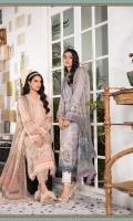 Printed shirt Dyed trouser Printed chiffon dupatta Embroidered neckline patti Embroidered embellished flowers Embroidered patches