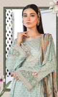 Printed shirt Printed trouser Printed chiffon dupatta Embroidered sleeve patches Embroidered patti I Embroidered patti II