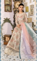 Embroidered printed front and sleeves printed back Dyed trouser Cotton net dupatta Embroidered embellished neckline Embroidered patti Puff printed organza patti