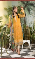 Printed shirt Dyed trouser Printed silk dupatta Embroidered patti I Embroidered patti II Embroidered patches