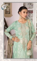 Printed shirt Dyed trouser Printed chiffon dupatta Embroidered neckline Embroidered patti