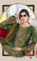 Printed shirt Dyed trouser Printed chiffon dupatta Embroidered neckline Embroidered patches