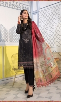 Printed shirt Dyed trouser Printed silk dupatta Embroidered lawn centre panel Embroidered patti I Embroidered patti II