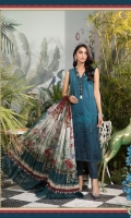 Printed shirt Dyed trouser Printed silk dupatta Embroidered neckline patti Embroidered ghera patches Embroidered ghera lace
