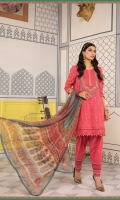 Printed shirt Dyed trouser Printed chiffon dupatta Embroidered lawn neckline Embroidered patti
