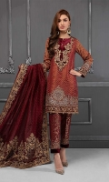 Pure organza embroidered shirt Zari net embroidered sleeves Diamante pure organza dupatta with velvet embroidered pallu Jacquard trouser with embroidered hem Tissue undershirt Finished with Swarovski buttons