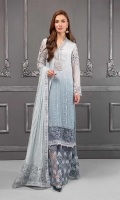 Fully embroidered shirt Embroidered chiffon dupatta Grip undershirt Embroidered organza trouser with grip lining