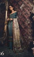 Digital printed pure charmeuse front and back Digital printed sleeves Digital printed silk dupatta Cotton satin trouser Embroidered neckline Embroidered and embellished ghera patti Embroidered ghera patti Embroidered and hand embellished sleeve patti
