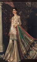 Digital printed pure charmeuse embroidered front Digital printed pure charmeuse back Digital printed sleeves Digital printed silk dupatta Cotton satin trouser Embroidered and hand embellished neckline Embroidered ghera patti