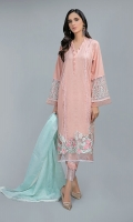 Shirt, Trouser, Dupatta Lawn shirt with embroidered border and embroidered sleeves paired with lawn cotton straight embroidered pants with check organza dupatta
