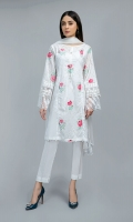 Shirt, Trouser, Dupatta Lawn embroidered panelled shirt with stitching details on side pannels, embroidered sleeves with embroidered organza border paired with white lawn cotton straight pants and matching chiffon'