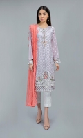 Shirt, Trouser, Dupatta Lawn panelled straight shirt with embroidered neckline, sleeves and border paired with lawn cotton straight pants and chiffli chiffon dupatta